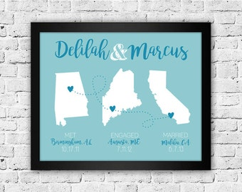 Met Engaged Married, Met Married Live, 8x10, Long Distance, State Print, Wedding Gift, Engagement Gift, Wall Art