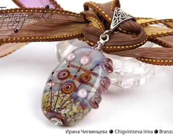 Transparency - Pendant artisan big blue lilac collection Lampwork bead murrini  -  silk ribbon