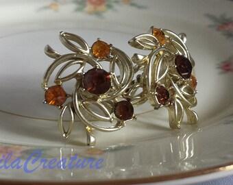 Coro Citrine Rhinestone Screwback Earrings