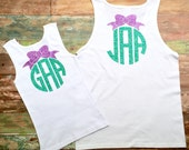 Monogram Tank Tops, Matching Mom and Daughter tank tops, Monogrammed Tank top, Monogrammed gifts