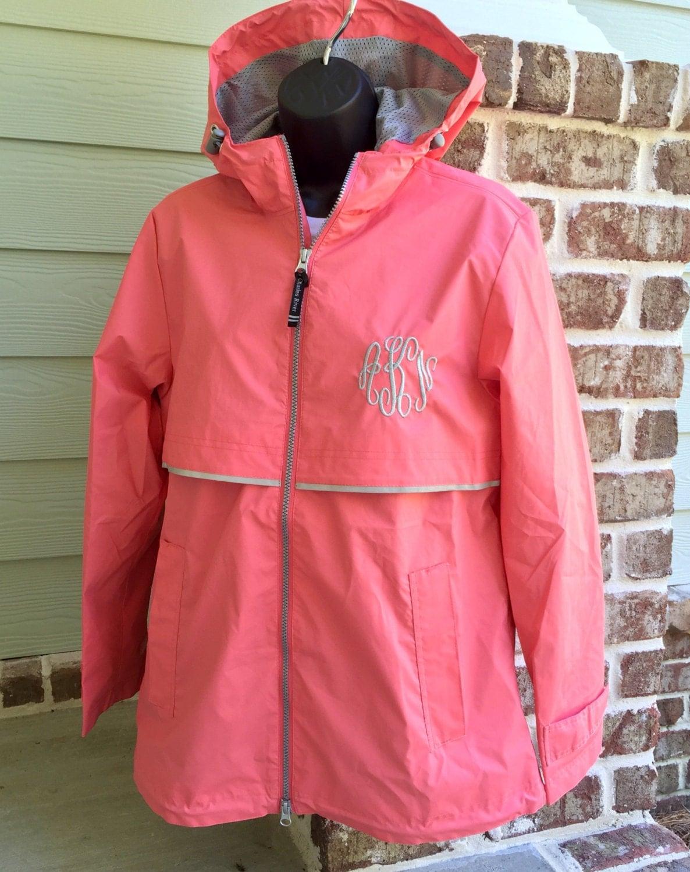 monogram rain jacket  monogrammed rain coat - monogrammed gifts