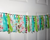 SALE Bright Snowflake Christmas Red, Lime and Turquoise Fabric Garland Rag Tie Banner Party Decoration, Photo Prop Backdrop