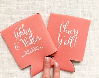 Wedding Can Coolers, Cheers Y'all, Personalized Can Coolers, Wedding Favors, Beer Sleeves, Can Sleeves, Coral - T325