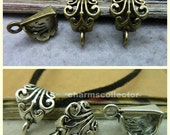 30PCS antique silver/ antique bronze 7x12x17mm filigree pendant bails wholesale jewelry findings