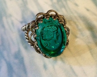 Intaglio Cameo Ring, 1930's Vintage Teal Glass West Germany Cocktail Statement Bling