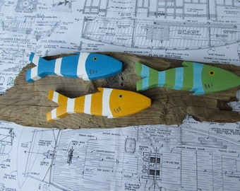 Driftwood with Three Happy Little Picket Fish