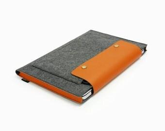"Flet iPad sleeve iPad Mini Air 15""Macbook Pro Case 11"" 13"" Macbook Retina Pro sleeve Leather laptop case with Front Pocket Custom Made E2028"