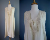 Silk Nightgown / Vtg 30s 40s / Ivory Silk Embroidered Nightgown