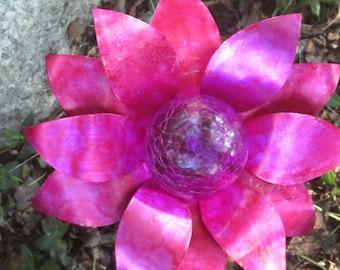 Pink Aluminum Flower Walkway or Garden  Solar Light