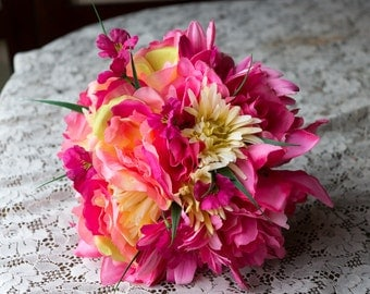 Pink Spring Mix Floral Wedding Bouquet