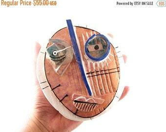 Abstract ceramic mask, Wall Art Ceramic, Handmade Mask, Ceramic Home Decor by 99heads