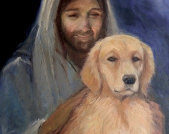 Jesus with Golden Retriever