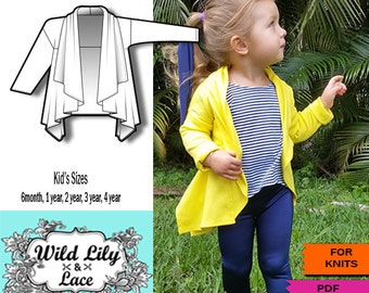 KIDS SEWING, PATTERN for Waterfall cardigan, kids cardigan, pdf pattern, easy pattern, pattern for knits,easy to sew pattern