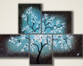 White Blue Brown Abstract Cherry Tree Blossom Painting Wall Decor -5 panel Original Painting by Judith Yabut