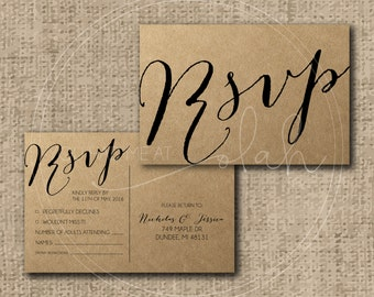 Custom/Printable PDF Wedding RSVP Postcard