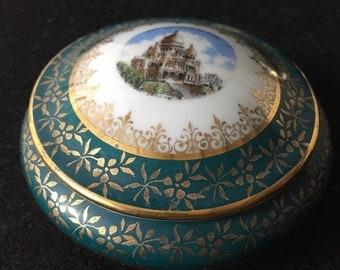 Vintage Trinket Box Limoges France Diamond DC Paris Sacre Coeur Porcelain