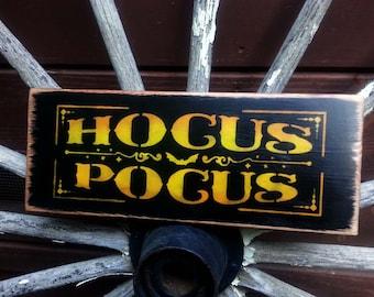 WOODEN HALLOWEEN SIGN, Hocus Pocus, Trick or Treat, Autumn, Fall, Holidays.