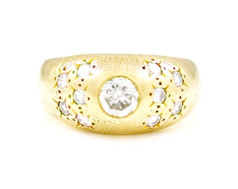 Antique, Vintage, Handmade, Unisex, 14k, Gold, Yellow Gold, Bezel Set, Diamond, Multistone, Ring