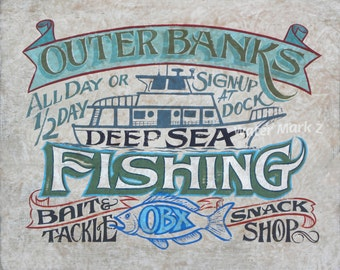 OBX- Outer Banks Fishing Print