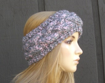 Knit Headband Head Wrap Ear Warmer Cabled Pink and Gray Sparkle