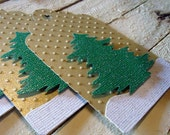 Christmas Tree Pine Tree Gift Tags Gold and Green Set of 8