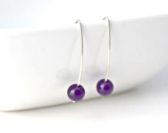 Deep Purple Semi-Precious Gemstone Amethyst and Argentium Sterling Silver Earrings, Minimalist, Modern, February Birthstone / E216