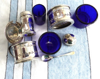 English Sterling Silver 7 Piece Condiment Set Salt Pepper Mustard Spoon 1940s Blue Glass Liners