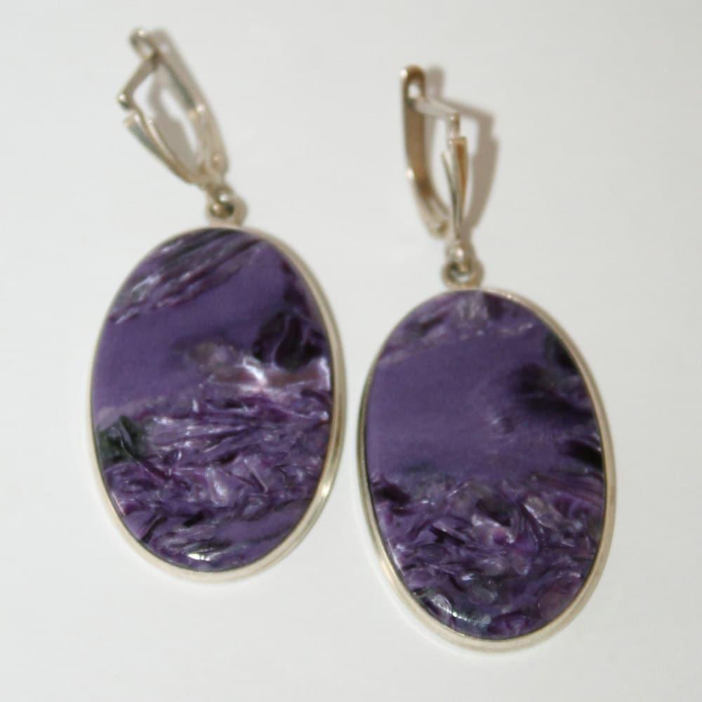 charoite silver earrings russian jewelry free by uralsmaster
