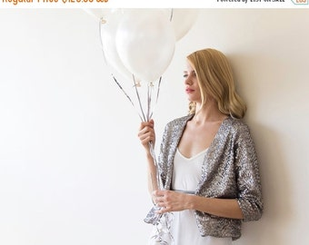Sequin silver jacket, Long sleeves sparkling bridal jacket