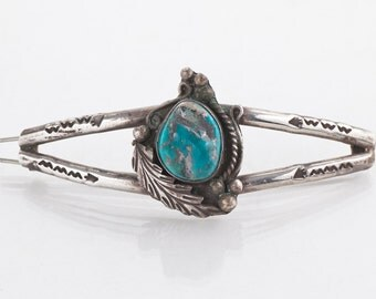 Turquoise Barrette - Vintage Native American Sterling Silver Turquoise Hair Barrette