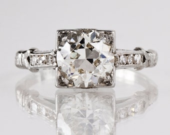 Antique Engagement Ring - Antique Diamond Engagement Ring-Platinum