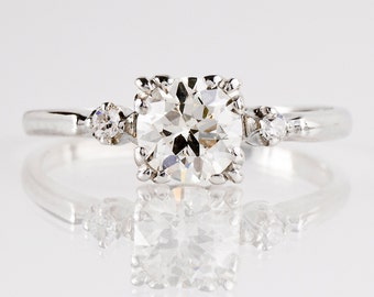 Antique Engagement Ring - Antique 1930s 14K White Gold Diamond Engagement Ring