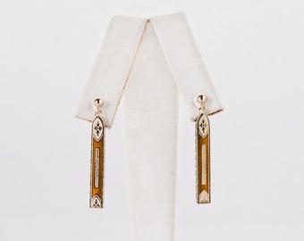 Antique Art Deco 1920s 14k Yellow Gold Enamel Earrings