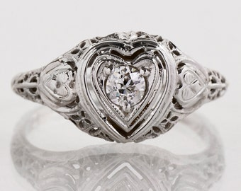 Antique Engagement Ring - Antique Edwardian 18k White Gold Filigree Diamond Engagement Ring
