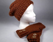 GINGERBREAD Chunky Crocheted Wrist Warmer and Slouchy Hat SET - Keep Warm in Style this Winter