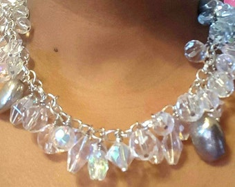 Chunky necklace, Crystal Necklace, Crystal beaded necklace, clear crystal beads, Wedding Necklace, Bridal jewelry,  Matron Maid of Honor