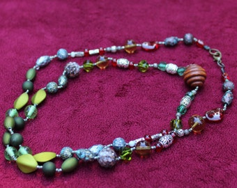 Greens, Reds, and Browns Long Beaded Necklace
