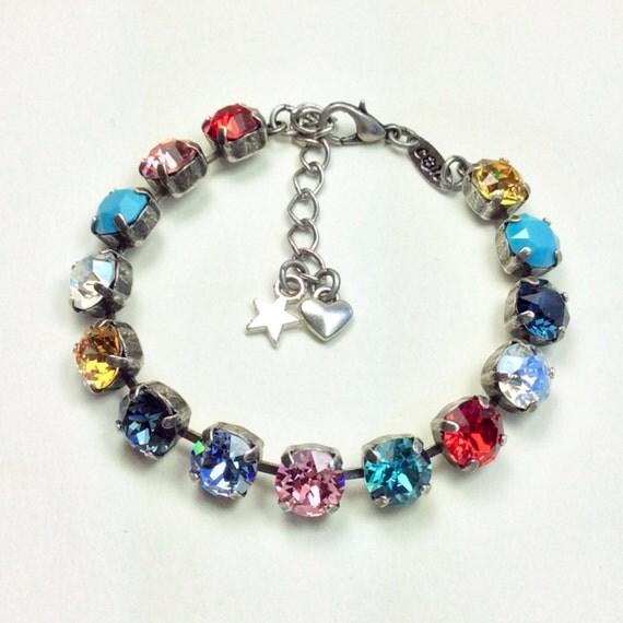 Swarovski Crystal 8.5 mm Bracelet      White Shirt, Jeans, Flats & This Bracelet! -  Casual Elegance! - Designer Inspired - FREE SHIPPING