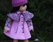 Radiant Orchid Coat Dress with Cape and Knitted Hat for 18 inch doll. RESERVED for Deb
