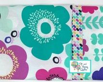 Pillowcase Kit - Gemetric Bliss Bright Teal & Raspberry Floral