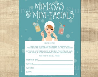 Rodan and Fields Invitation, Instant Digital Download, DIY Invitation, Business Launch, Mimosas and mini facials, mason jar, spa day