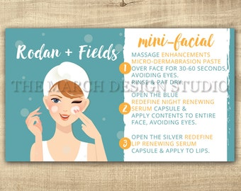 Rodan and Fields Mini Facial Cards, Instant Download, Rodan and Fields Facial Business card size