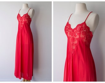 1970's Vintage Nightgown - Red Maxi Nightgown with Lace Detailing - Vintage Lingerie by Olga - Size Small