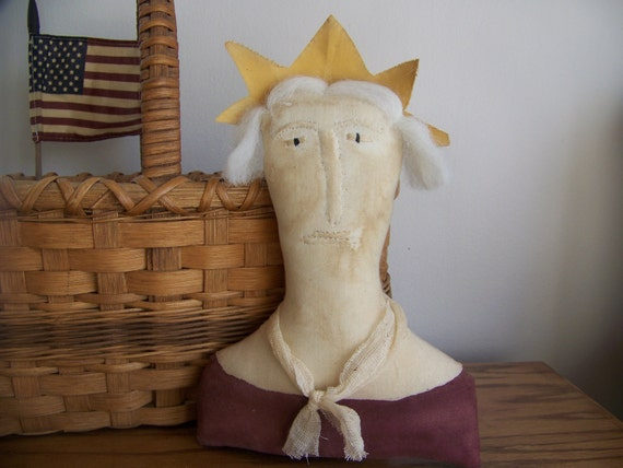 Primitive Lady Liberty Shelf Sitter/Cupboard Doll Americana Decor