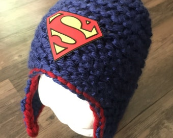 SALE** Superman knitted toddler hat with ear flaps