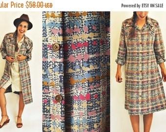 SHOP IS AWAY 1960s Printed Ink Blot Duster Dress