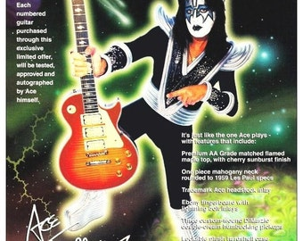KISS Band Ace Frehley 24 x 32.43 Reproduction Gibson Les Paul Promotional Poster Kiss Band Kiss Collectibles Kiss Poster Gift Idea kiss76
