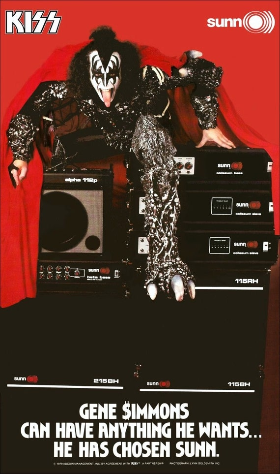 KISS Gene Simmons SUNN Amplifiers Ad Stand-Up Display - Kiss Band Kiss Collectibles Memorabilia Gift Idea Retro Poster Pintrest kiss76