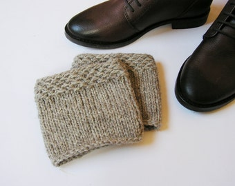 READY TO SHIP! Boot cuffs Knit Wool Leg warmers  Hand knit Wool Grey  Boot toppers