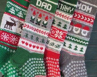 Set of 4  Christmas Stocking Personalized Hand knit Wool Red Green Gray White Blue with Gnomes Santa Deer Snowflakes Snowman
